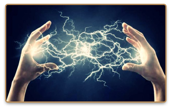 Lightnings between two hands during Electrokinesis practice