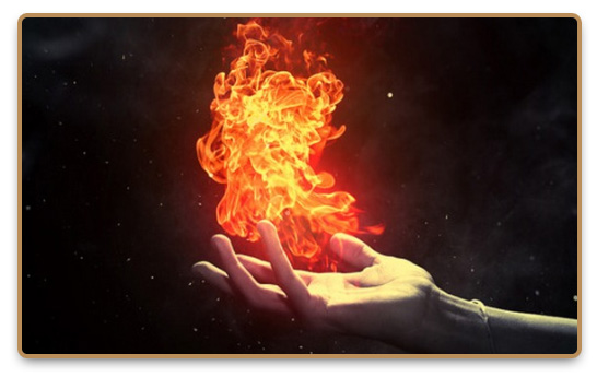 Flames of fire over a hand during Pyrokinesis practice