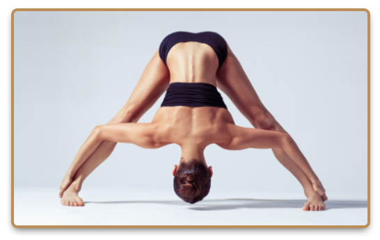 Woman during Bikram yoga or hot yoga practice