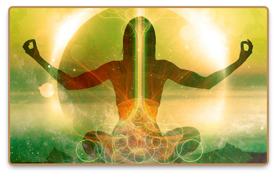 Meditating female figure with energy flow in the nadis