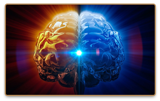 The two hemispheres of the brain and the sparkling energy within them