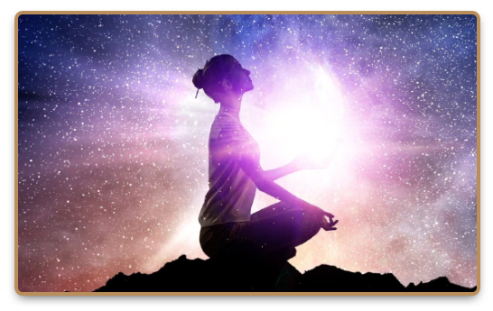 Energetic woman meditating under the starry sky