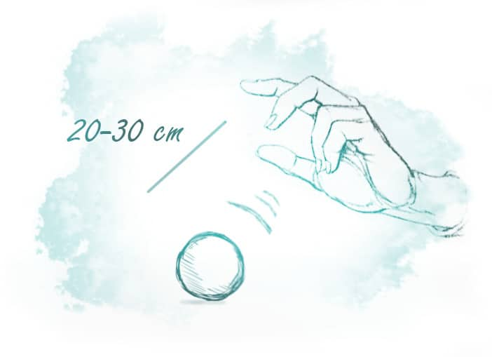 Illustration of the expected distance between the object and your hand during telekinesis