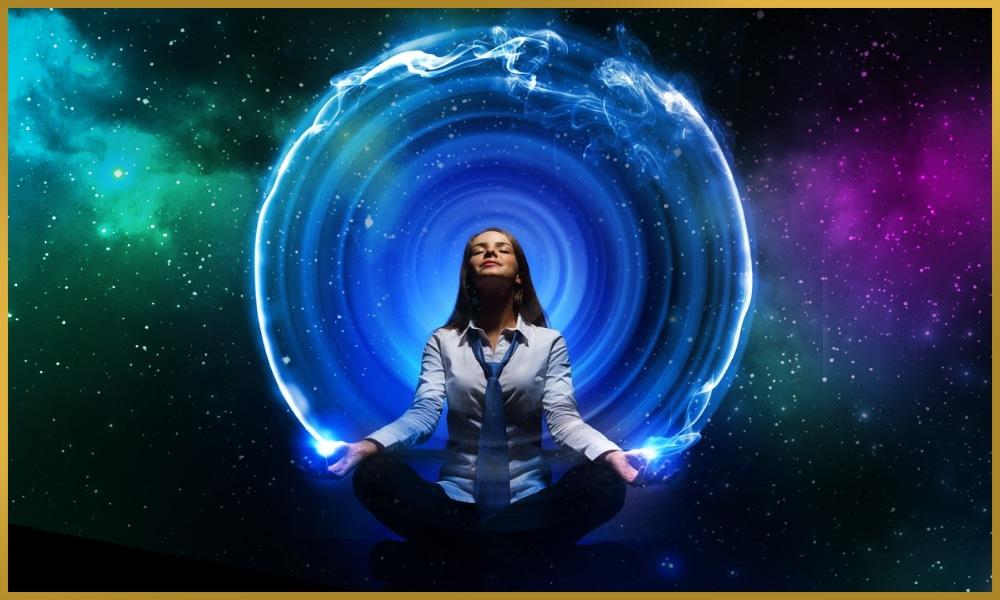 Meditating woman in blue energy sheath