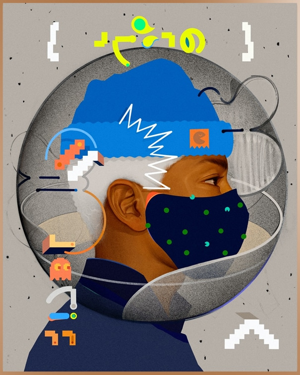 Colorful illustration of a man wearing a mask and cap