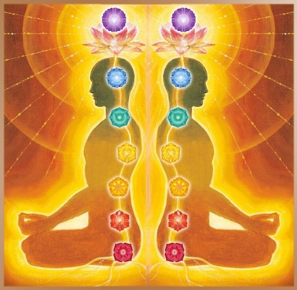 Location and color of the seven chakras in the human body