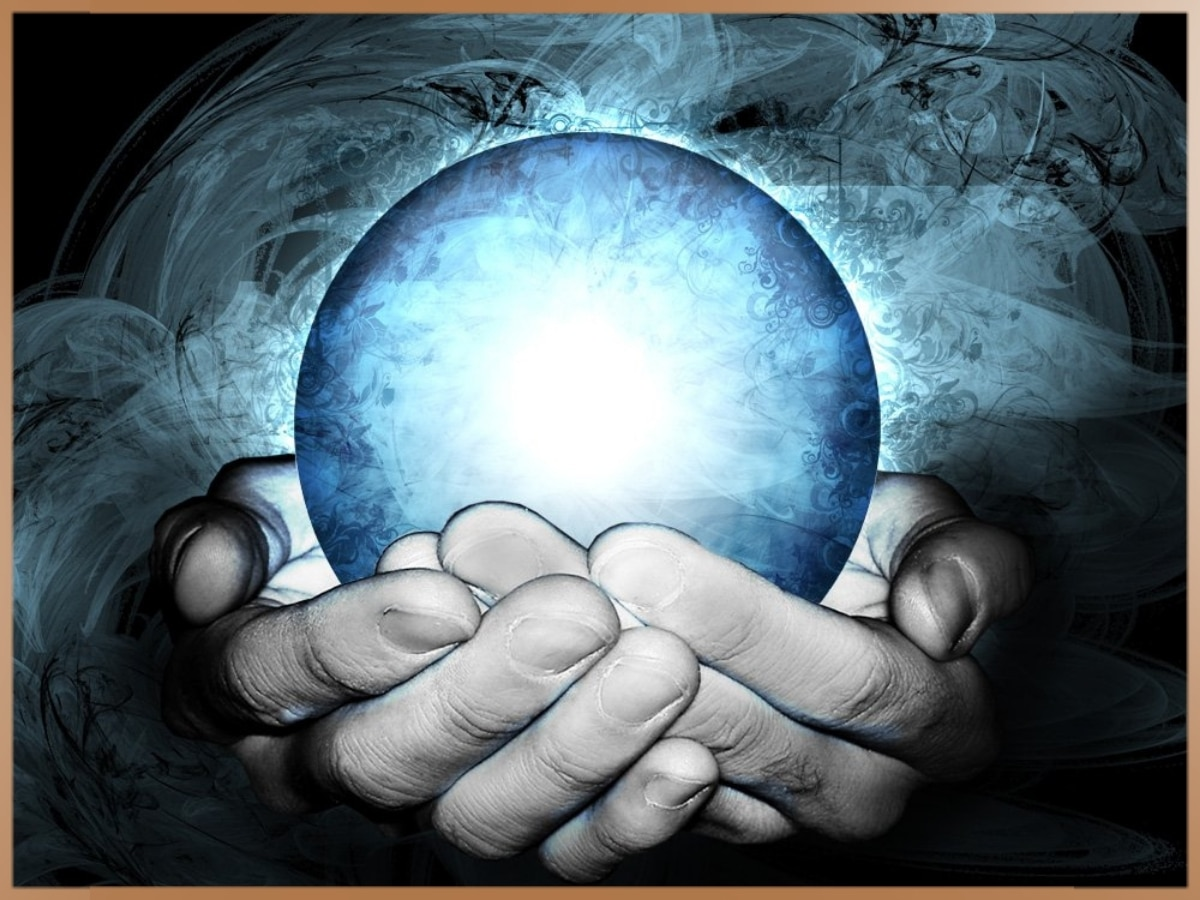 Blue energy psi ball in hands
