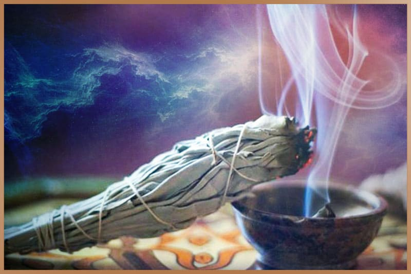 White sage burning for clearing all negative energies