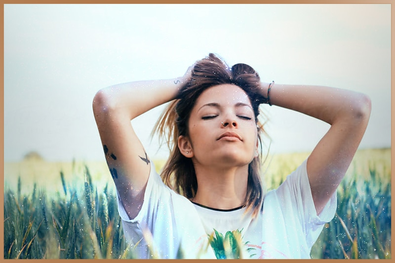 Relaxed woman after emotional healing session