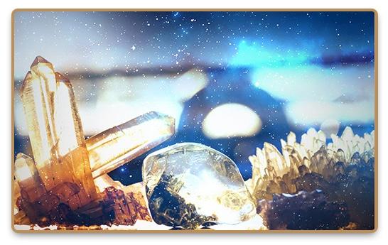 Various kinds of healing crystals like clear quartz and rose quartz