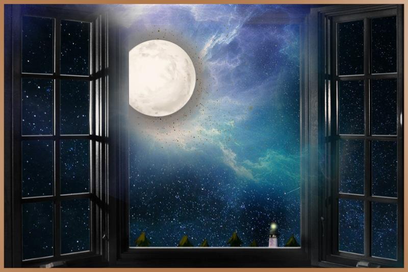 Full moon light through window