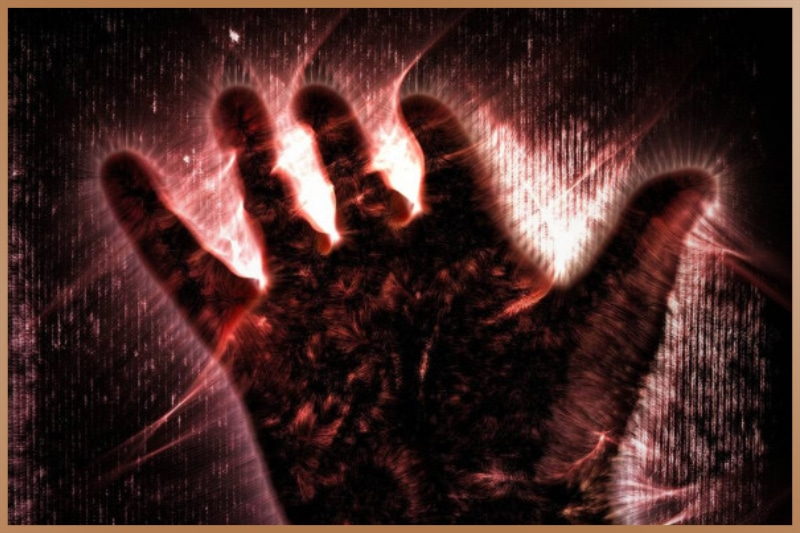 Kirlian photography, photo about a human hand