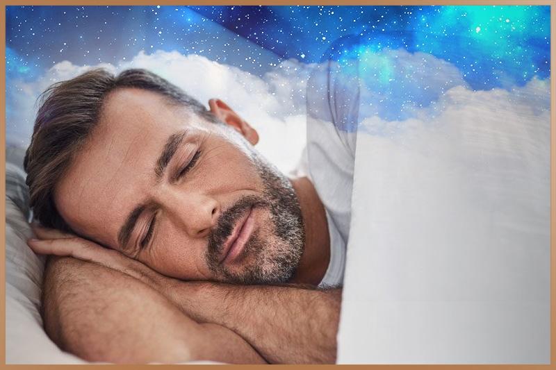 Man sleeping deep and well and has a good sleep quality