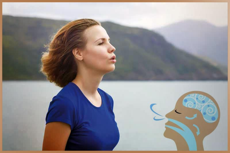 Woman breathes, inhales and exhales as part of yoga