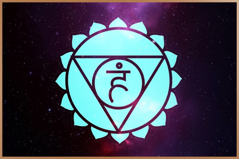 Throat chakra is blue and located at the base of your throat