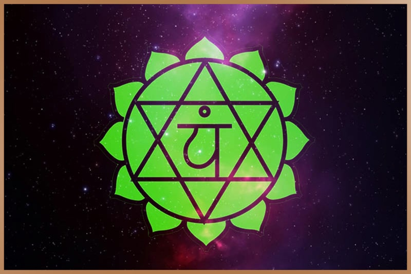 Heart chakra is green and located in the center of your chest