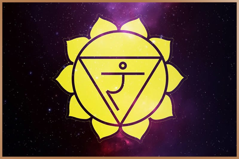 Solar plexus chakra is yellow and located between naval and sternum