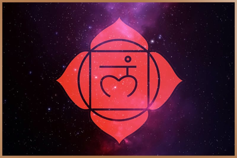 Root chakra is red and located in the base of your spine near your tailbone
