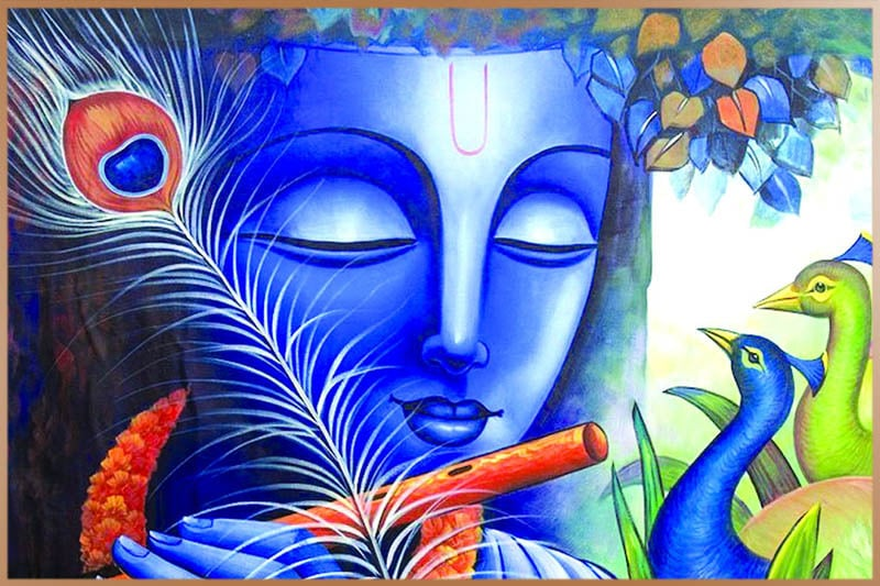 Krishna, the god of compassion, tenderness, love, with his flute and birds